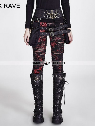 Punk Rave Red Gothic Broken Mesh Leggings