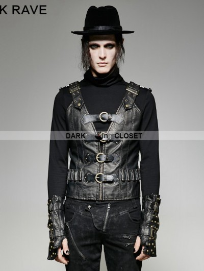 Punk Rave Black PU Leather Army Uniform Style Steampunk Vest for Men