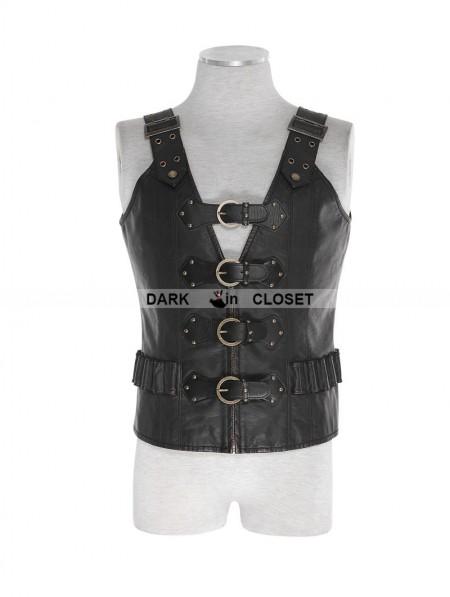 Punk Rave Black Pu Leather Army Uniform Style Steampunk