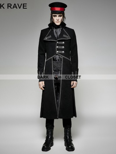 Punk Rave Black Military Unifrom Long Coat for Men