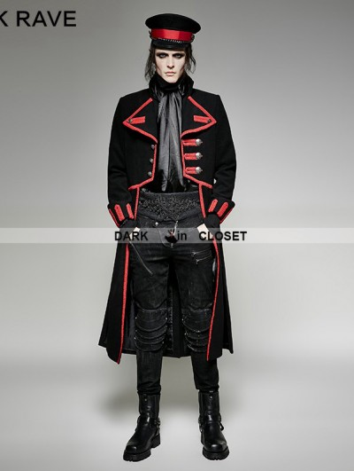 Punk Rave Black and Red Military Unifrom Long Coat for Men