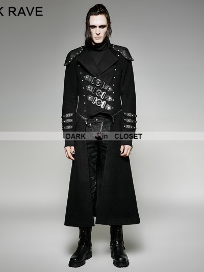 Punk Rave Black Gothic Military Uniform Woolen Long to Short Coat for Men