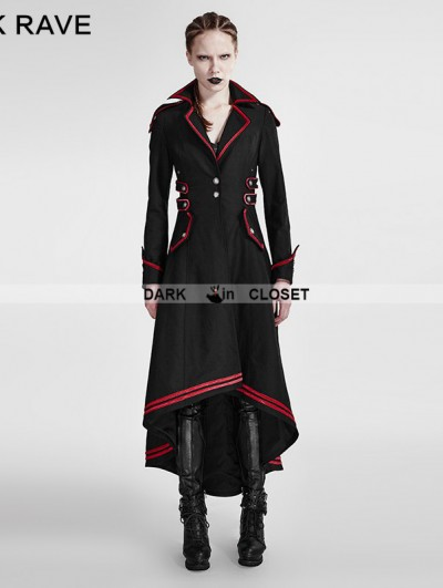 Punk Rave Black and Red Gothic Military Uniform Long Coat for Women