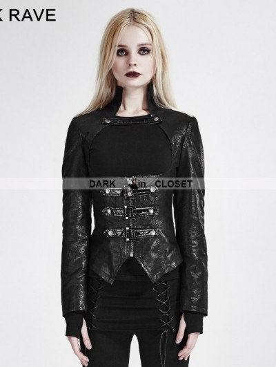 Punk Rave Black Gothic Punk Short Jacket for Women