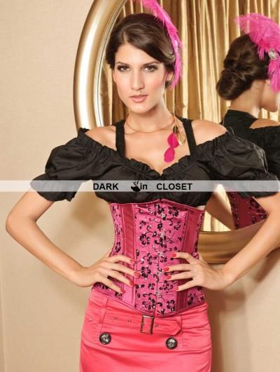 Fuchsia Pattern Fashion Underbust Corset