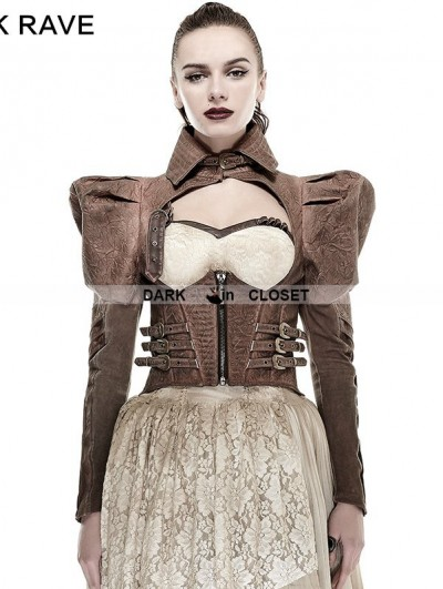 Punk Rave Coffee Handsome Steampunk Short Jacket for Women