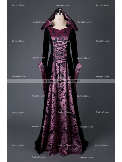 Medieval Night Black and Purple Velvet Vintage Medieval Hooded Dress