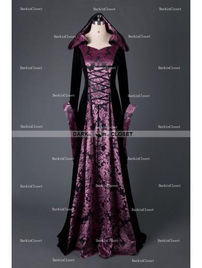 Medieval Night Black and Purple Velvet Vintage Medieval Hooded Dress