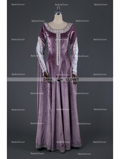 Medieval Night Elegant Purple Velvet Vintage Medieval Dress