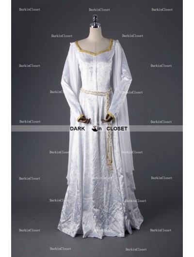 Medieval Night White Elegant Vintage Medieval Dress