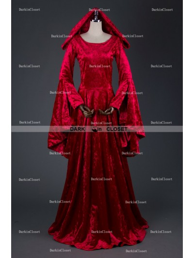 Medieval Night Red Velvet Medieval Hooded Dress