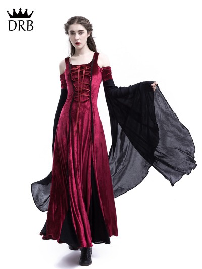 Medieval Night Wine Red Velvet Off-the-Shoulder Medieval Dress