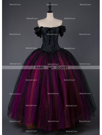 Rose Blooming Gothic Corset Long Prom Ball Gown Dress