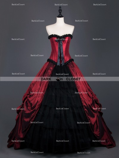 Rose Blooming Red Gothic Corset Long Prom Ball Gowns