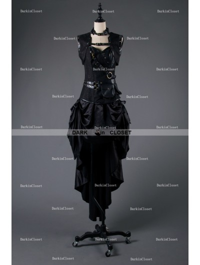 Rose Blooming Black Steampunk Gothic Corset Burlesque High-Low Prom Party Dress