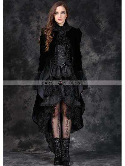 Dark in Love Black Velvet Women's Gothic Jacket with Removable Bowtie and Lace Shawl