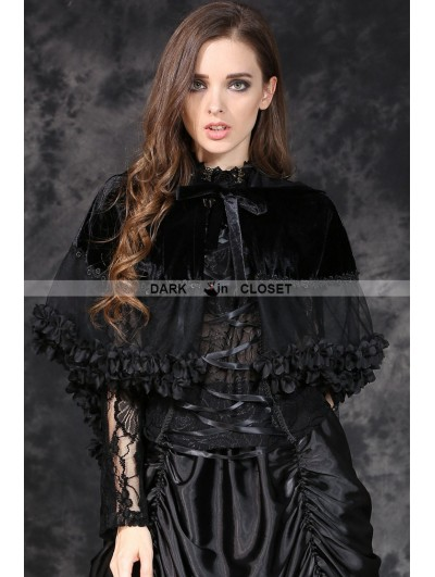 Dark in Love Black Gothic Lolita Style Short Hooded Cape