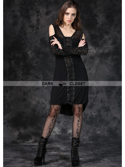 Dark in Love Black Gothic Punk Off-the-Shoulder Shirt Dress