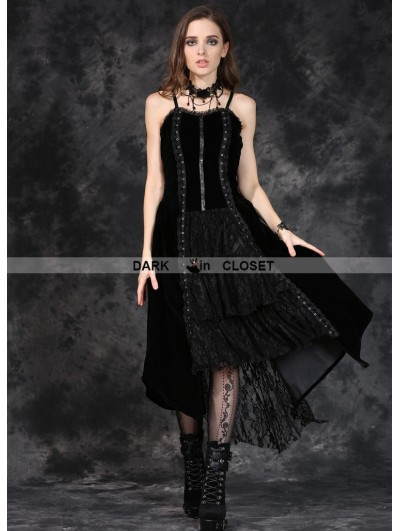 Dark in Love Black Gothic Punk Velet Dress with Jacquard Lace