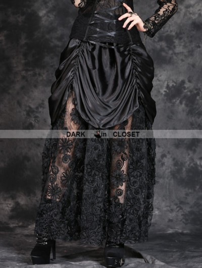 Dark in Love Black Gothic Satin Long Skirt