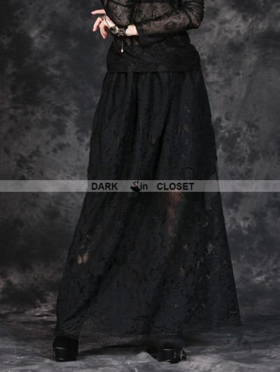 Dark in Love Black Simple H Shape Long Skirt