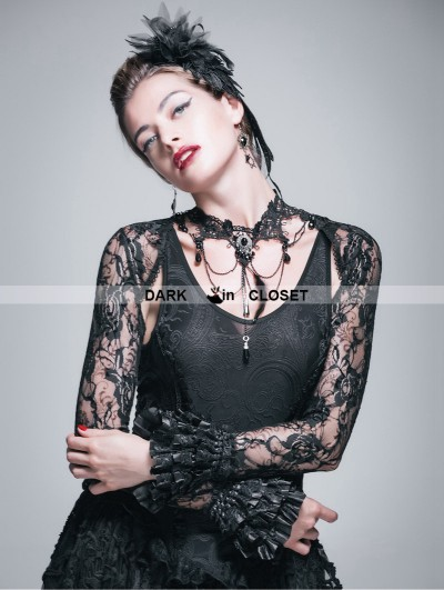 Devil Fashion Black Lace Long Sleeves Cape for Women