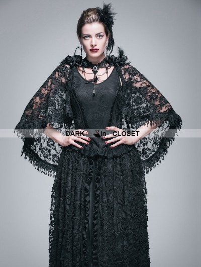Devil Fashion Black Gothic Jacquard Knitting V-Neck Vest with Lace Cape