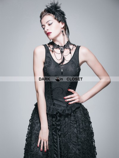 Devil Fashion Black Gothic Jacquard Knitting V-Neck Vest for Women