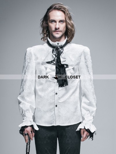 Devil Fashion White Palace Style Men's Gothic Blouse with Removable Tie