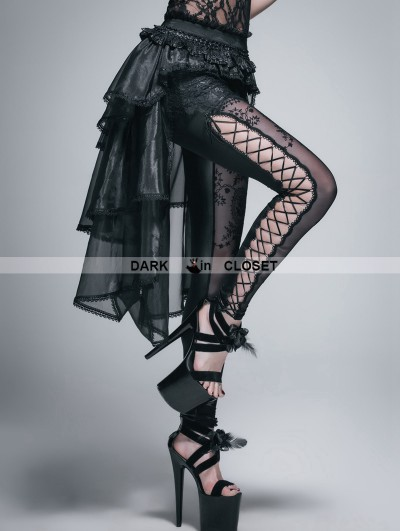 Devil Fashion Black Lace and Gauze High-Low Gothic Skirt