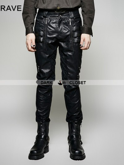 Punk Rave Black PU Leather Gothic Punk Men's Pants