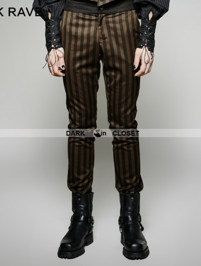 Punk Rave Stripes Steampunk Industrial Revolution Style Pants for Men