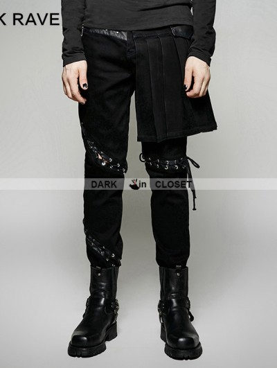 Punk Rave Black Gothic Punk Removable Skirts Pants for Men