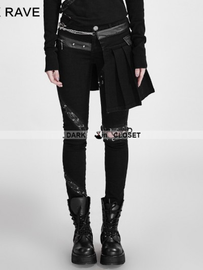 Punk Rave Black Gothic Punk Removable Skirts Pants for Women
