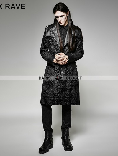 Punk Rave Vintage Black Pattern PU Leather Gothic Coat for Men