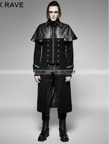 Punk Rave Black Gothic Military Uniform Long Pu Leather