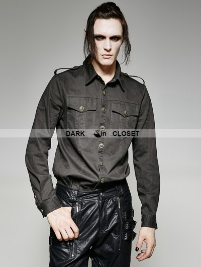 Punk Rave Black and Gray Gothic Military Uniform Men's Shirt