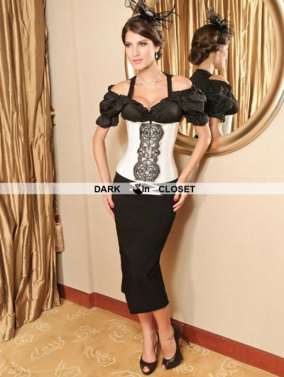 White and Black Lace Fashion Underbust Corset