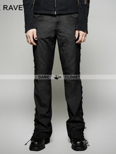 Punk Rave Black Steampunk Ultra-Wide-Leg Trousers for Men