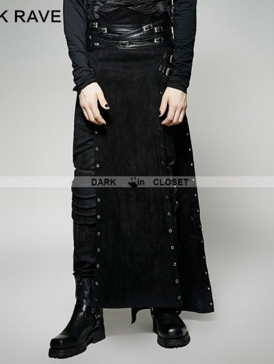 Punk Rave Black Gothic Punk Split Skirt for Men