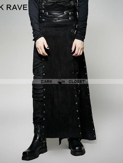 Punk Rave Black Gothic Punk Split Skirt for Men