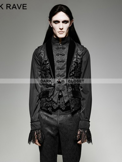 Punk Rave Gothic Fake Two Pieces Swallow Tail Vest for Men