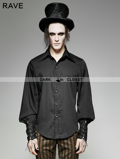 Punk Rave Steampunk Striped Shirt for Men