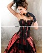 Wine Red and Black Gothic Overbust Corset