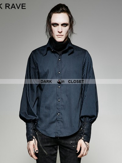 Punk Rave Blue Steampunk Striped Shirt for Men