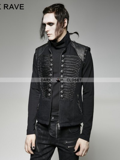 Punk Rave Black Gothic Military Uniform Vest for Men