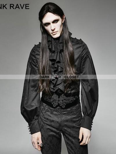 Punk Rave Black Gothic Palace Style Ruffles Men's Shirt