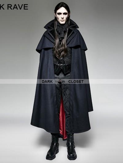 Punk Rave Navy Blue Gothic Vampire Count Cap Coat for Men