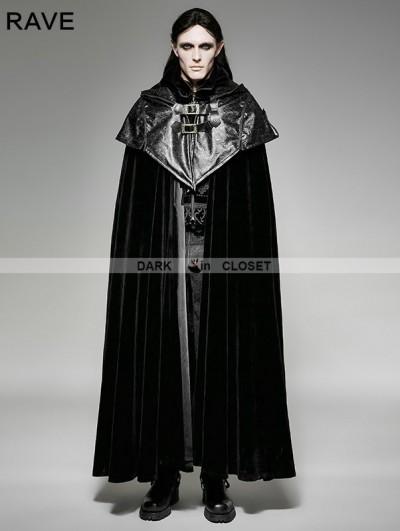 Punk Rave Black Gothic Hoodie Cape Long Coat for Men