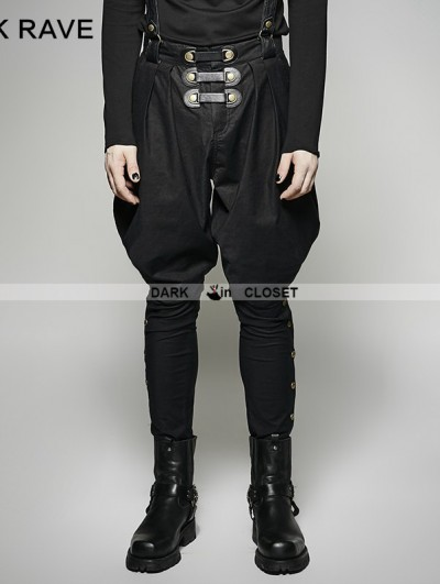 Punk Rave Black Gothic Military Uniform Men's Pantsloak